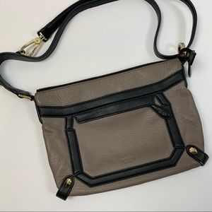 PERLINA BLACK AND TAUPE CROSS BODY BAG